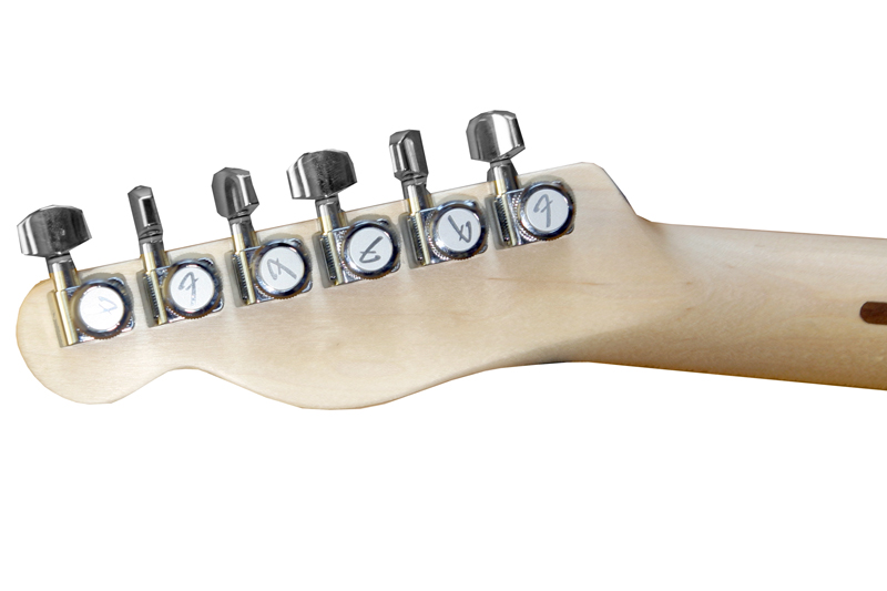 Brushed finish Fender Schaller Locking Tuners provide solid tuning stability